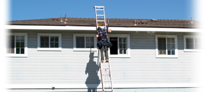 Apartment Repairman on Ladder