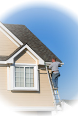 Roofing Contractor installing Gutters
