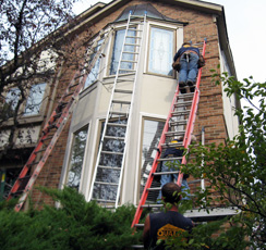 Handyman doing Home Repairs in Michigan on a Ladder